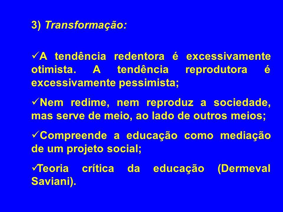 3) Transformação: A tendência redentora é excessivamente otimista. A tendência reprodutora é excessivamente pessimista;