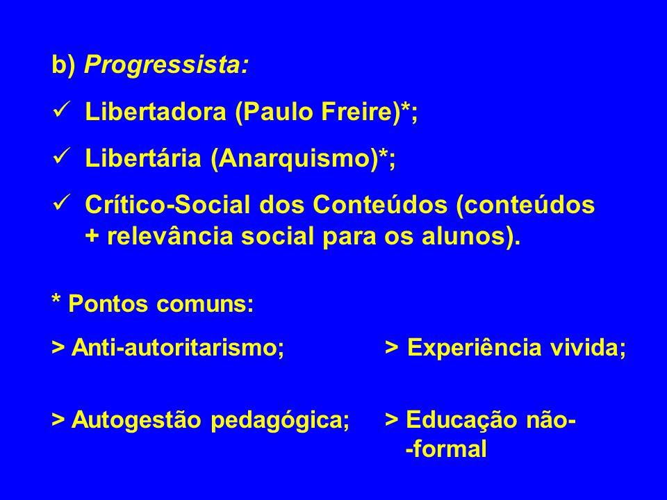 Libertadora (Paulo Freire)*; Libertária (Anarquismo)*;
