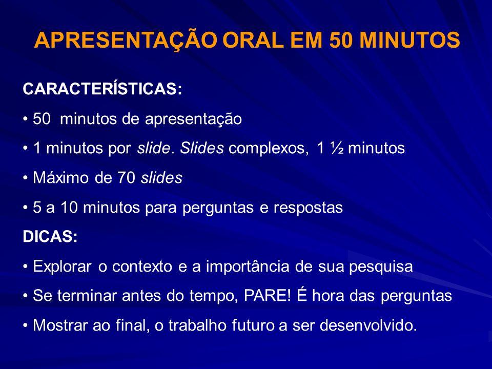 APRESENTAÇÃO ORAL EM 50 MINUTOS