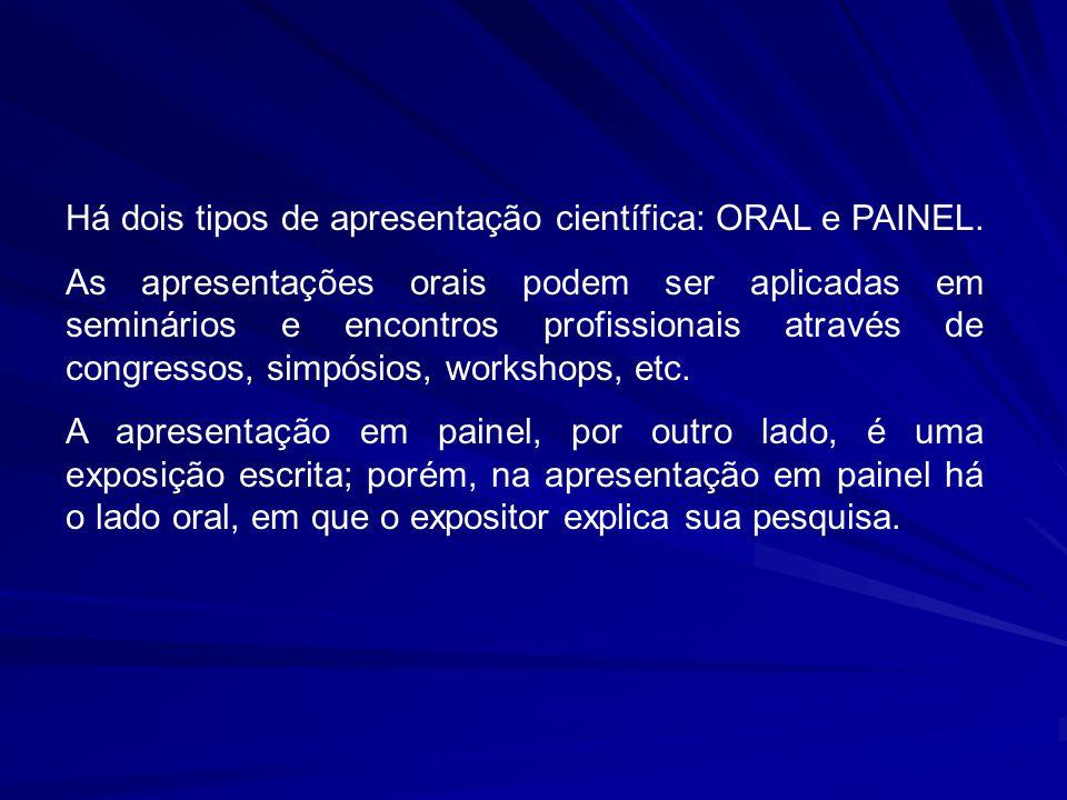 Há dois tipos de apresentação científica: ORAL e PAINEL.