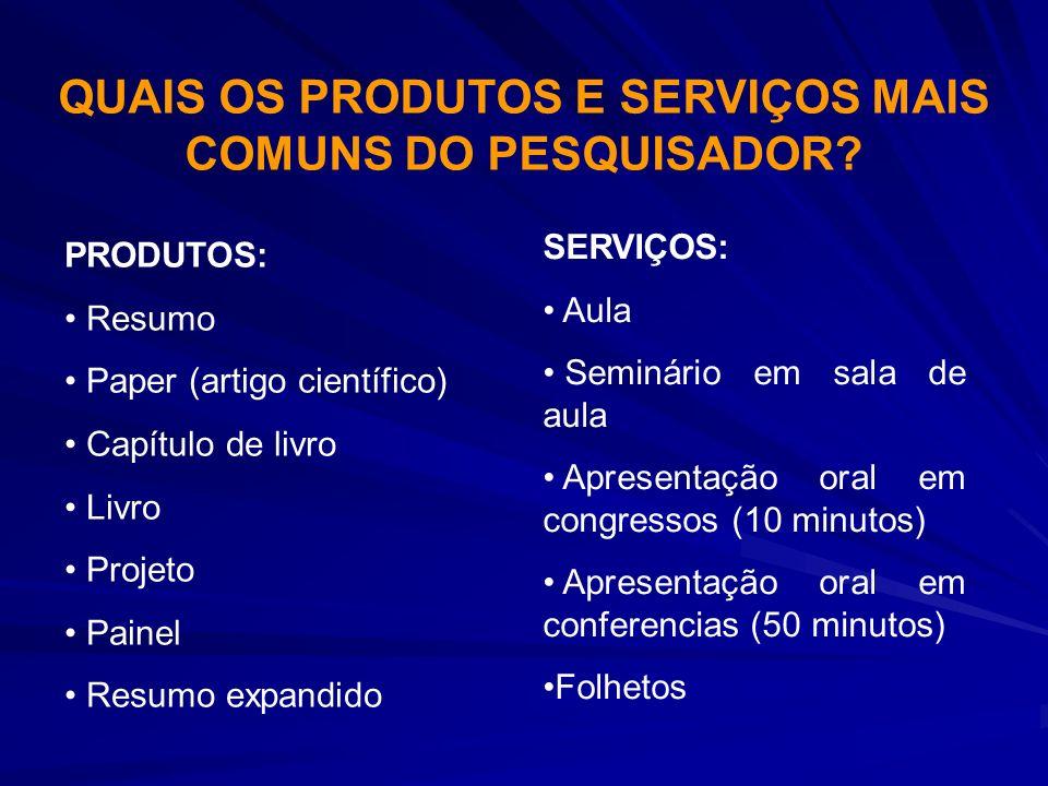QUAIS OS PRODUTOS E SERVIÇOS MAIS COMUNS DO PESQUISADOR