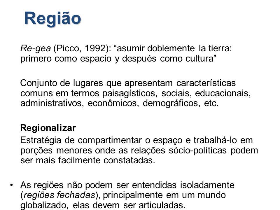 Região Re-gea (Picco, 1992): asumir doblemente la tierra: primero como espacio y después como cultura