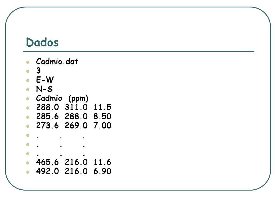 Dados Cadmio.dat 3 E-W N-S Cadmio (ppm) 288.0 311.0 11.5
