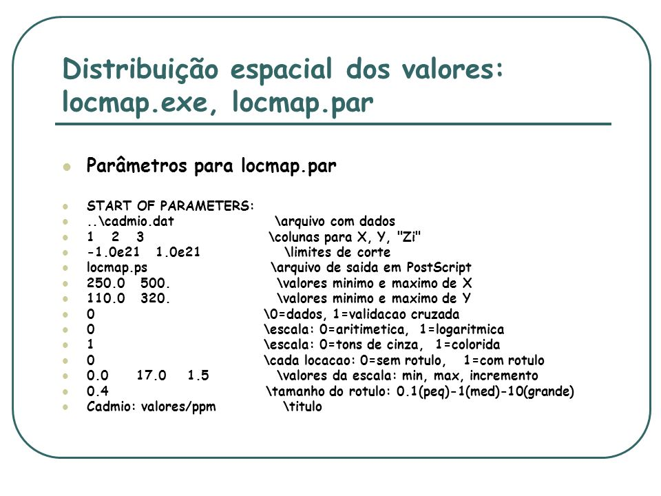 Distribuição espacial dos valores: locmap.exe, locmap.par