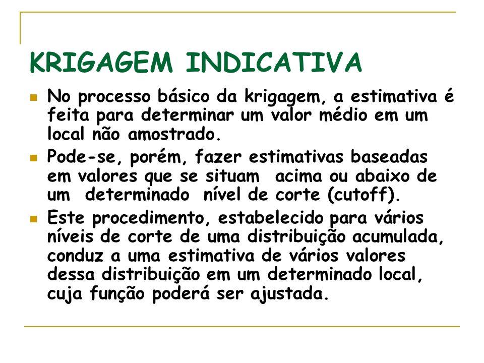 KRIGAGEM INDICATIVA No processo básico da krigagem, a estimativa é feita para determinar um valor médio em um local não amostrado.