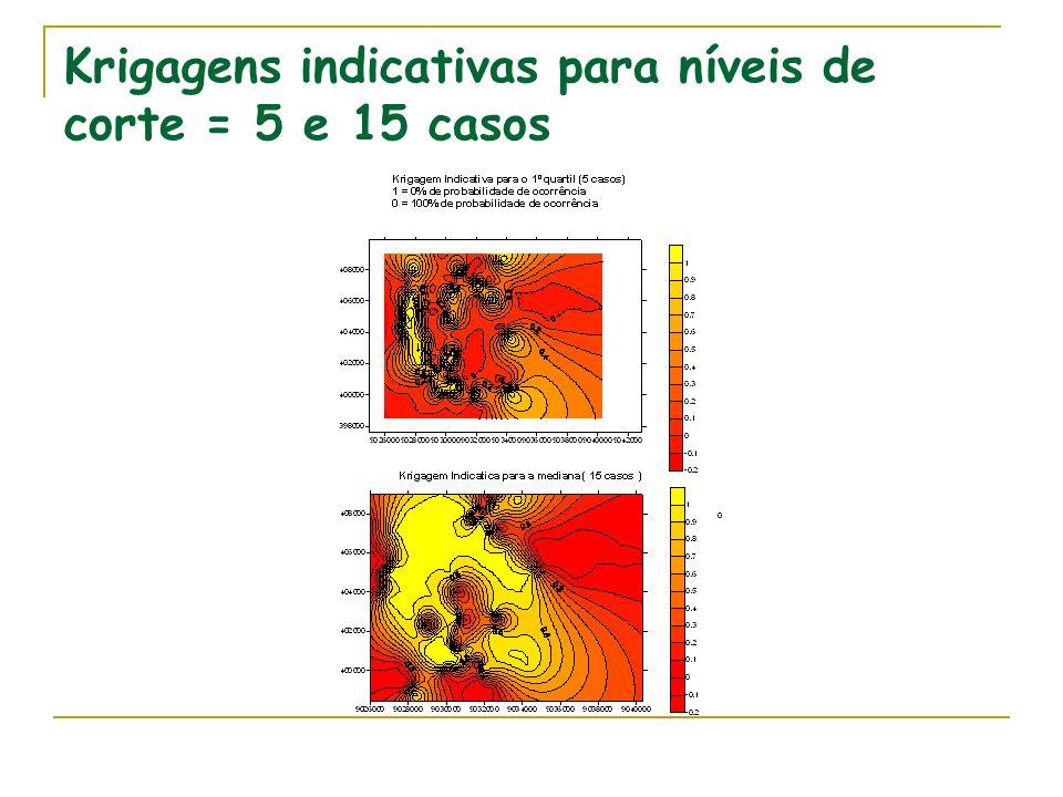 Krigagens indicativas para níveis de corte = 5 e 15 casos