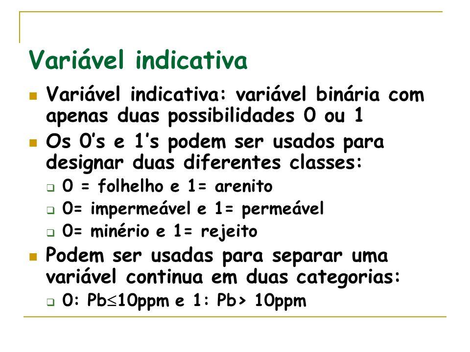 Variável indicativa Variável indicativa: variável binária com apenas duas possibilidades 0 ou 1.