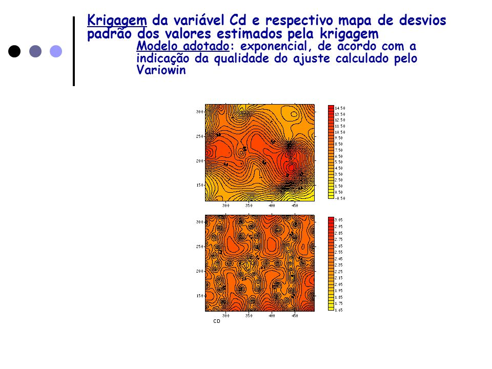 Krigagem da variável Cd e respectivo mapa de desvios padrão dos valores estimados pela krigagem Modelo adotado: exponencial, de acordo com a indicação da qualidade do ajuste calculado pelo Variowin