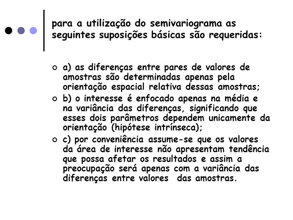 para a utilização do semivariograma as seguintes suposições básicas são requeridas: