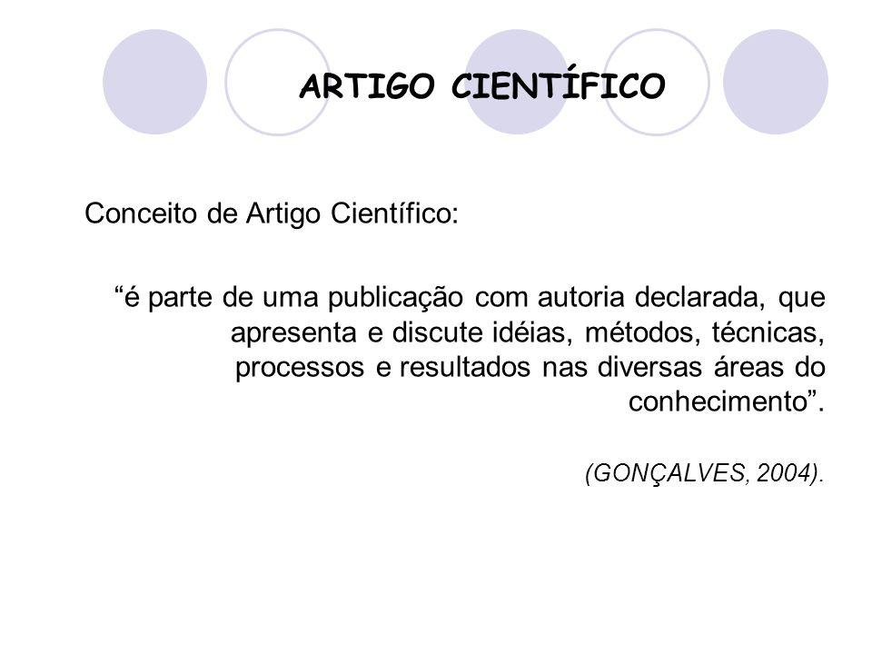 ARTIGO CIENTÍFICO Conceito de Artigo Científico: