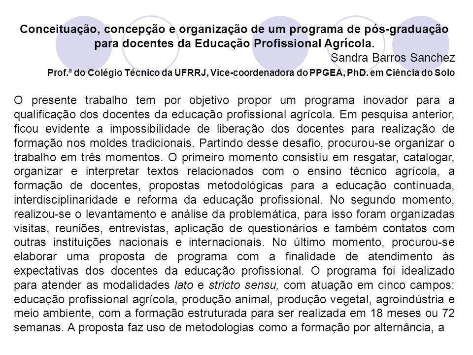 Conceituação, concepção e organização de um programa de pós‑graduação para docentes da Educação Profissional Agrícola.
