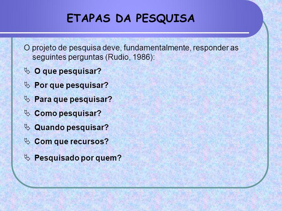 ETAPAS DA PESQUISA O projeto de pesquisa deve, fundamentalmente, responder as seguintes perguntas (Rudio, 1986):
