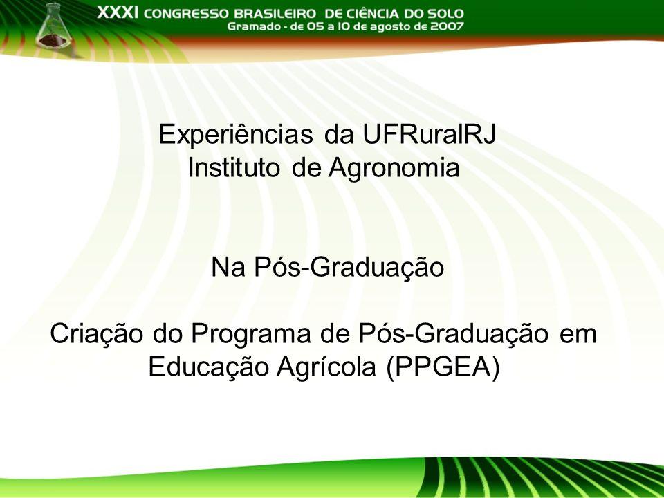 Experiências da UFRuralRJ Instituto de Agronomia