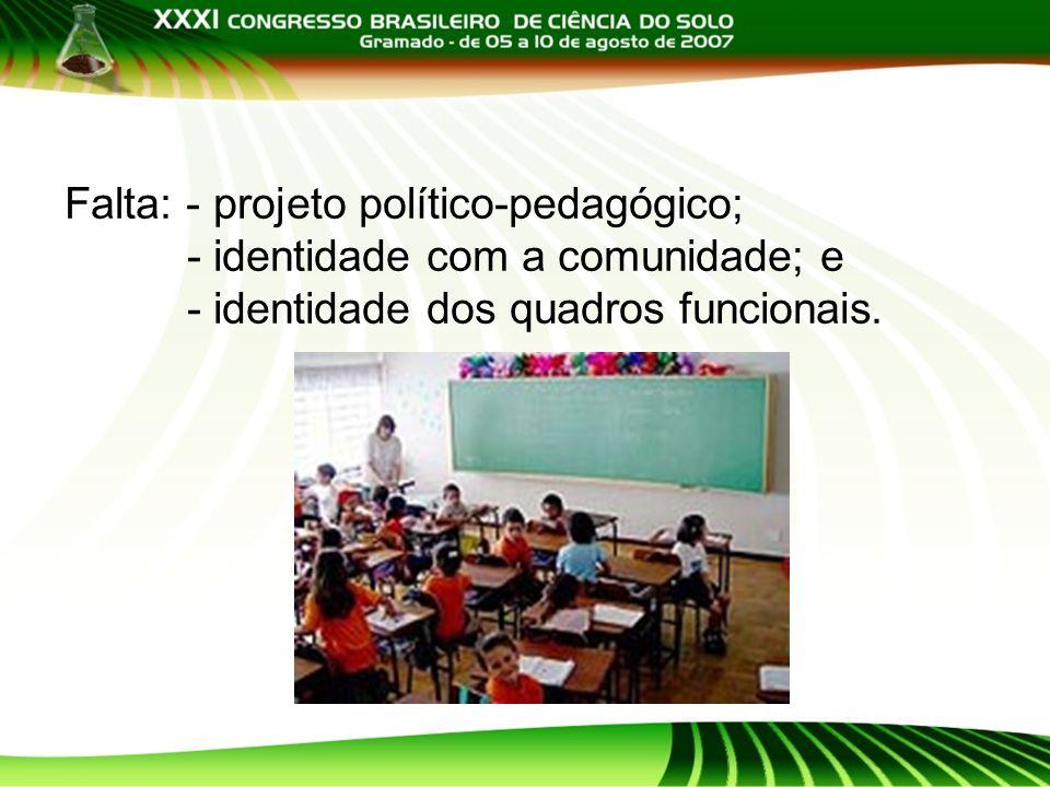 Falta: - projeto político-pedagógico;