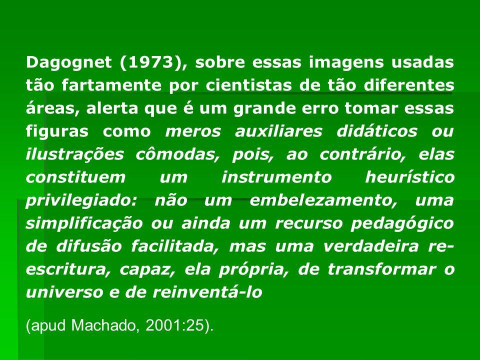 Dagognet (1973), sobre essas imagens usadas tão fartamente por cientistas de tão diferentes áreas, alerta que é um grande erro tomar essas figuras como meros auxiliares didáticos ou ilustrações cômodas, pois, ao contrário, elas constituem um instrumento heurístico privilegiado: não um embelezamento, uma simplificação ou ainda um recurso pedagógico de difusão facilitada, mas uma verdadeira re-escritura, capaz, ela própria, de transformar o universo e de reinventá-lo