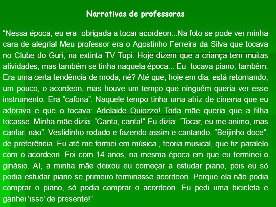 Narrativas de professoras