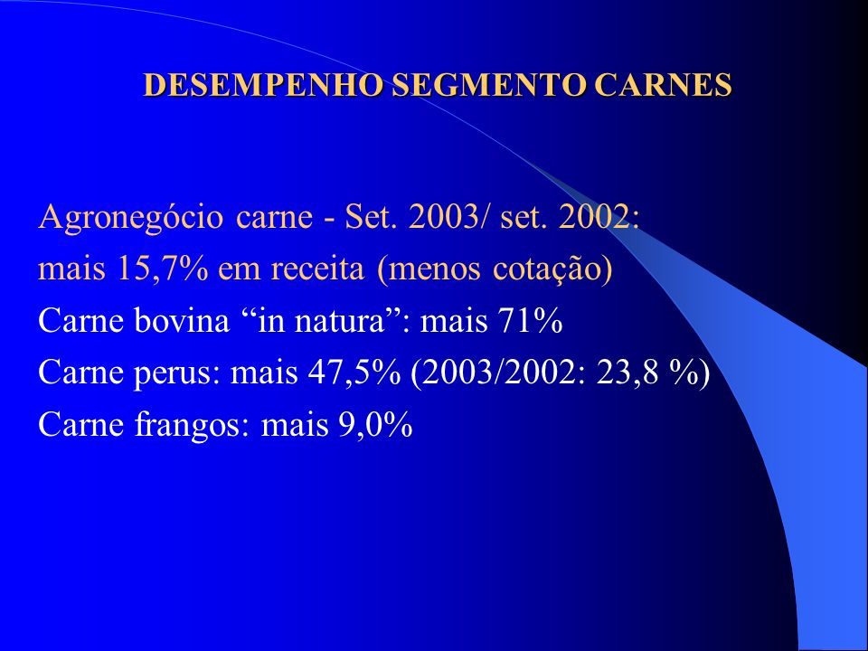DESEMPENHO SEGMENTO CARNES