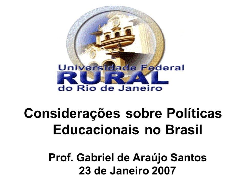 Considerações sobre Políticas Educacionais no Brasil Prof