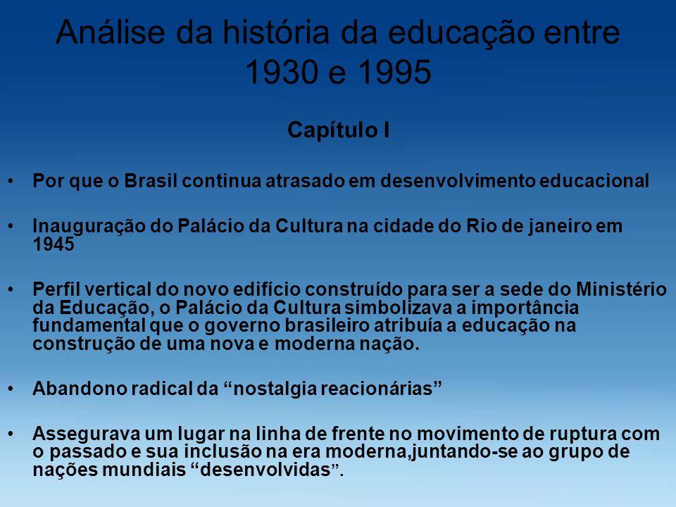 Análise da história da educação entre 1930 e 1995