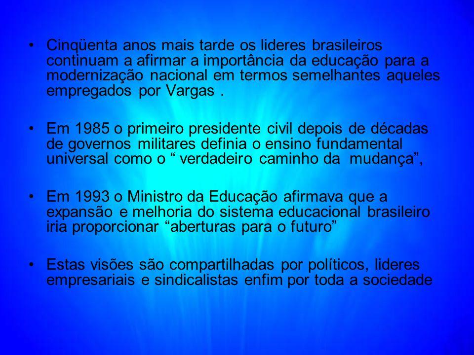 Cinqüenta anos mais tarde os lideres brasileiros continuam a afirmar a importância da educação para a modernização nacional em termos semelhantes aqueles empregados por Vargas .