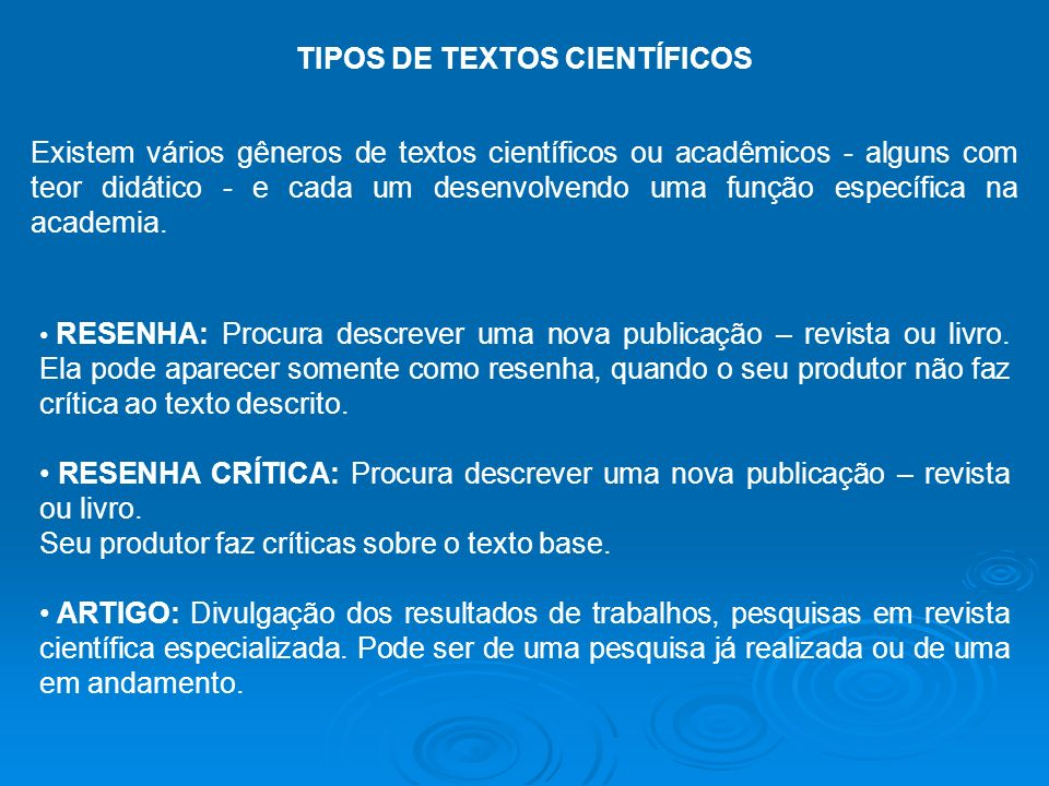 TIPOS DE TEXTOS CIENTÍFICOS
