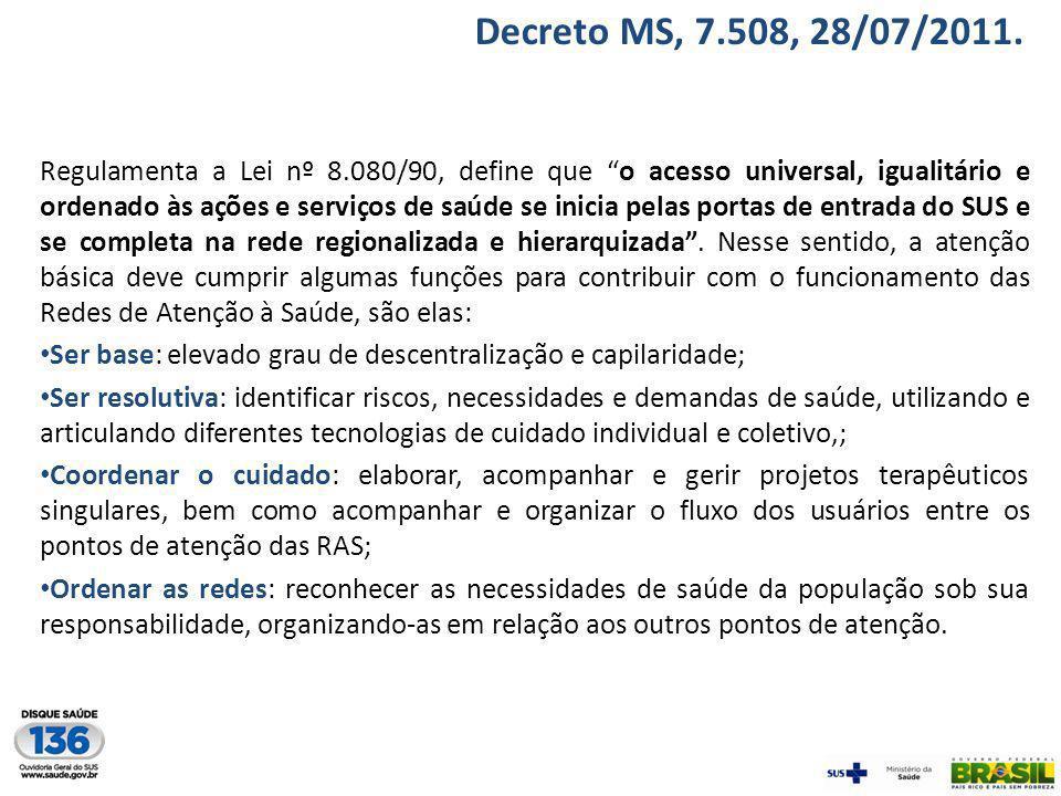 Decreto MS, 7.508, 28/07/2011.