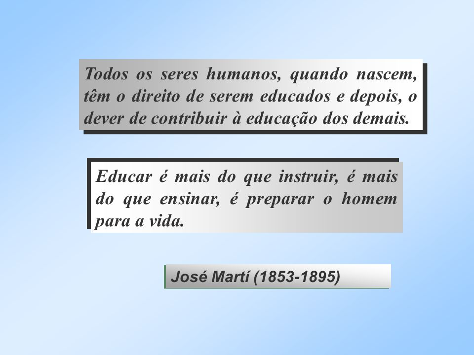 Todos os seres humanos, quando nascem, têm o direito de serem educados e depois, o dever de contribuir à educação dos demais.
