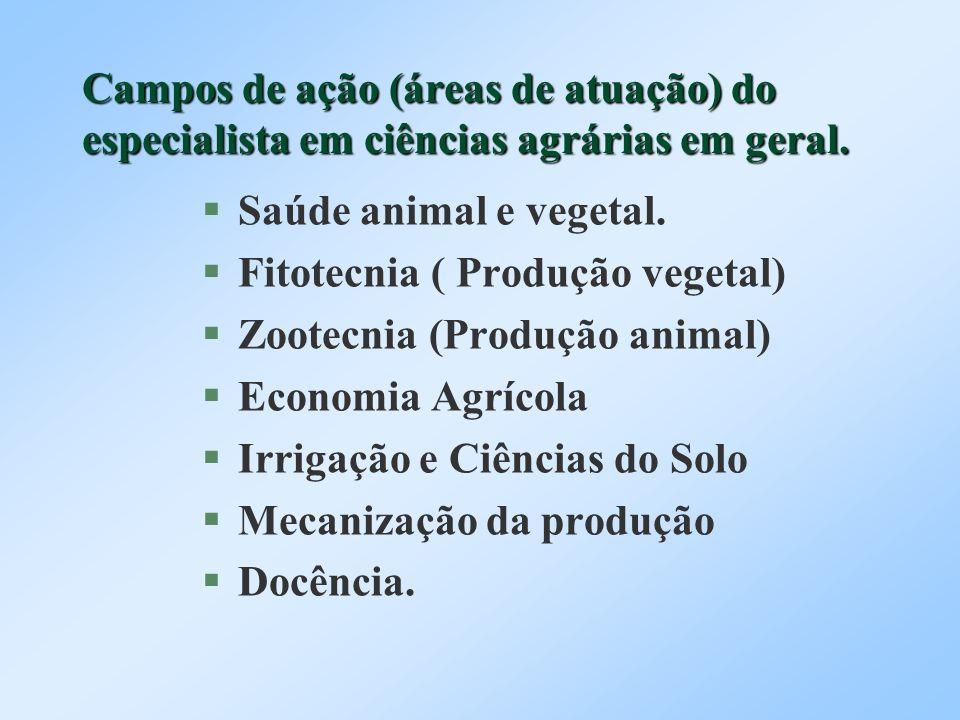 Campos de ação (áreas de atuação) do especialista em ciências agrárias em geral.