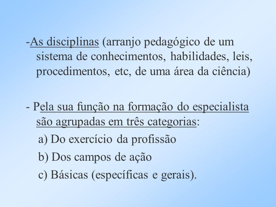 -As disciplinas (arranjo pedagógico de um sistema de conhecimentos, habilidades, leis, procedimentos, etc, de uma área da ciência)