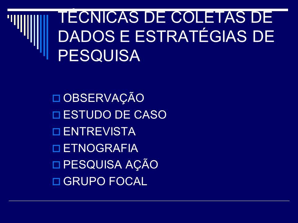 TÉCNICAS DE COLETAS DE DADOS E ESTRATÉGIAS DE PESQUISA