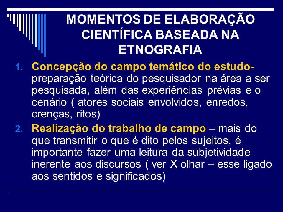 MOMENTOS DE ELABORAÇÃO CIENTÍFICA BASEADA NA ETNOGRAFIA