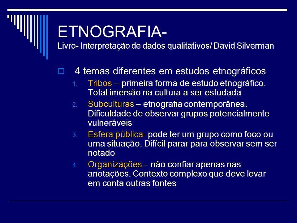 ETNOGRAFIA- Livro- Interpretação de dados qualitativos/ David Silverman