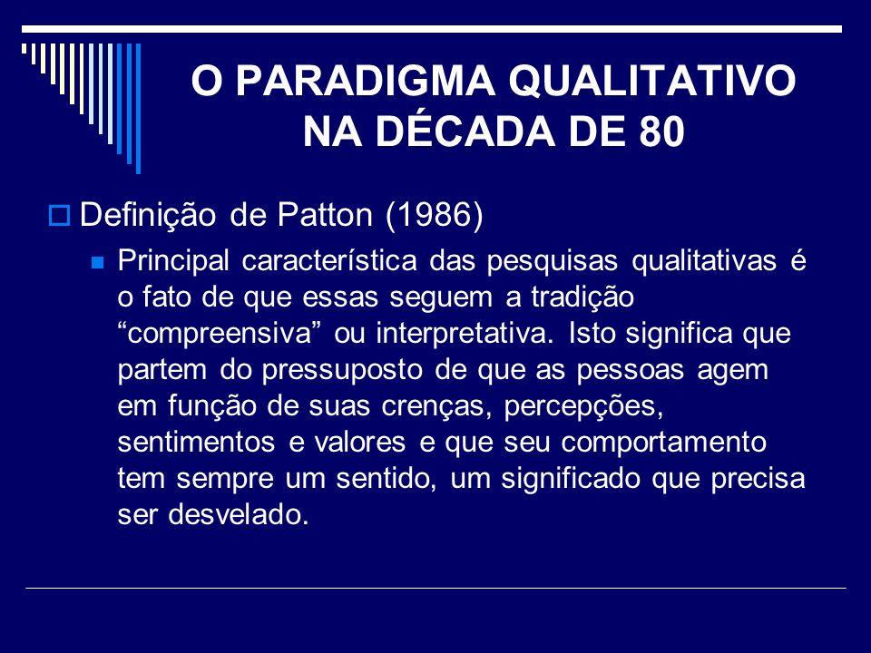 O PARADIGMA QUALITATIVO NA DÉCADA DE 80