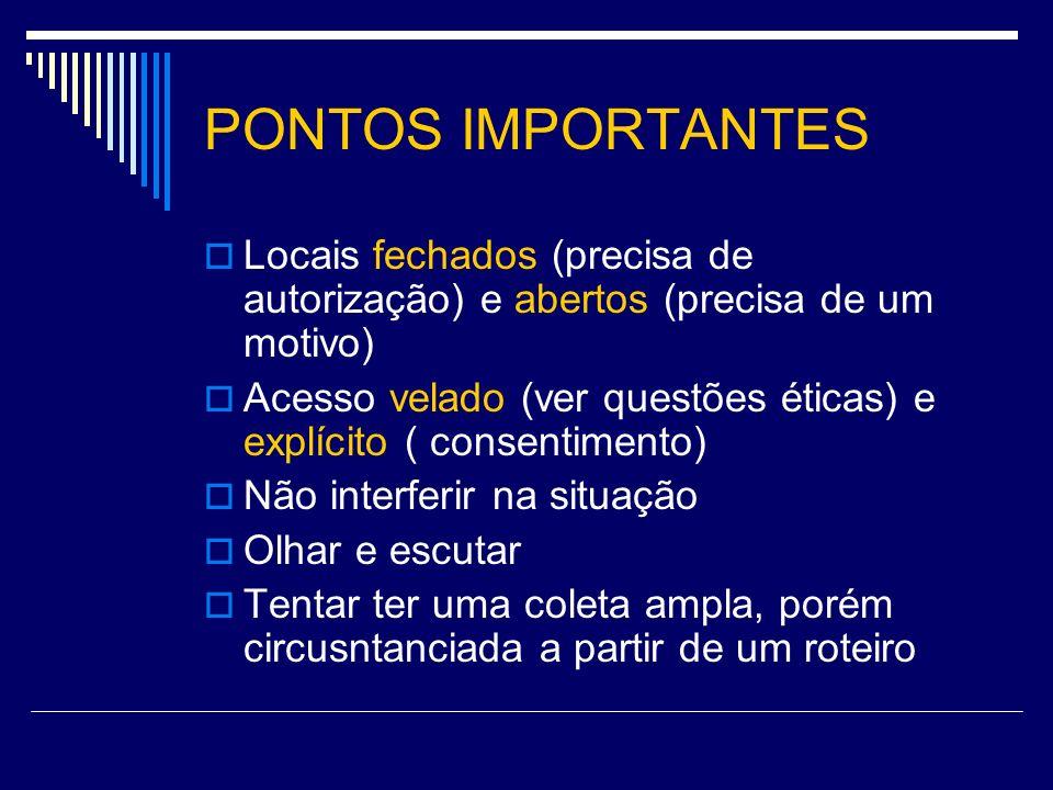 PONTOS IMPORTANTES Locais fechados (precisa de autorização) e abertos (precisa de um motivo)