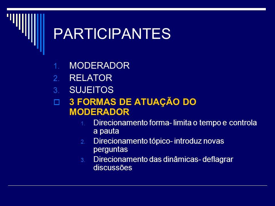 PARTICIPANTES MODERADOR RELATOR SUJEITOS