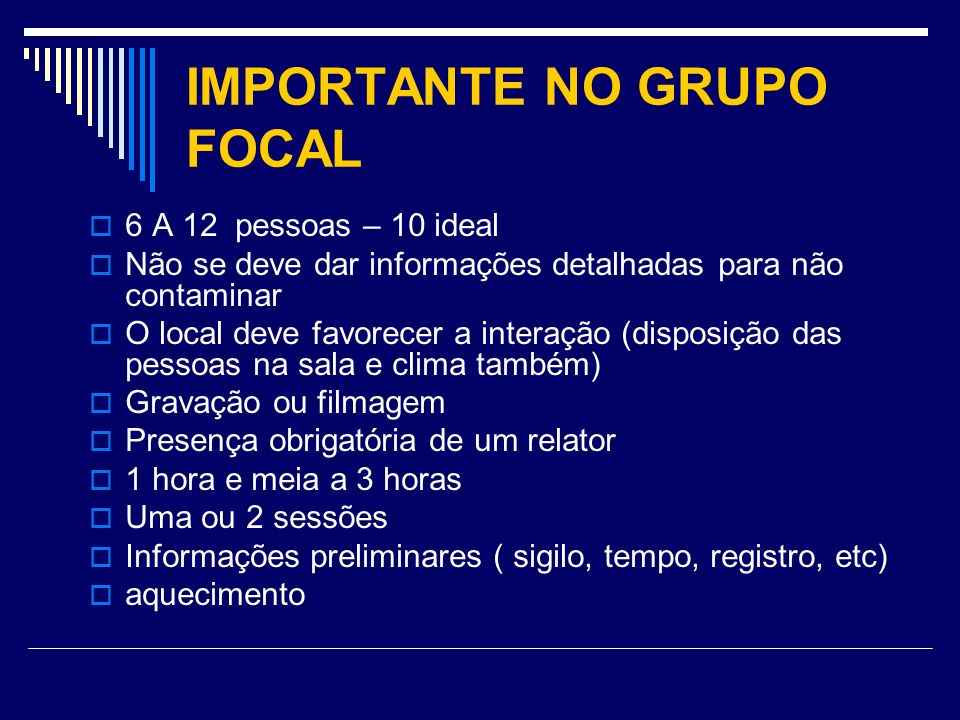 IMPORTANTE NO GRUPO FOCAL