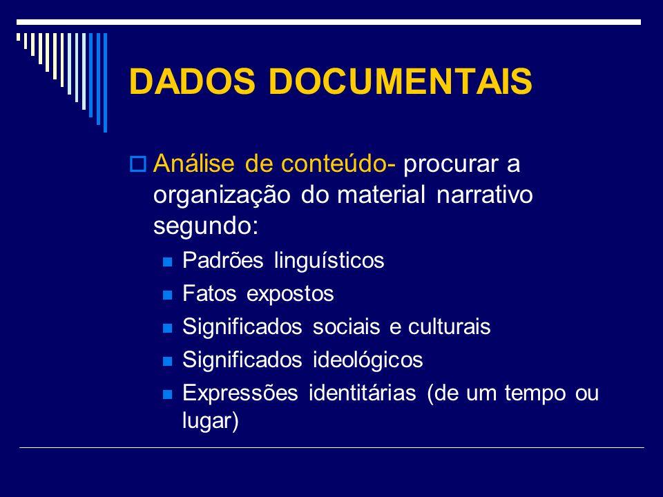 DADOS DOCUMENTAIS Análise de conteúdo- procurar a organização do material narrativo segundo: Padrões linguísticos.