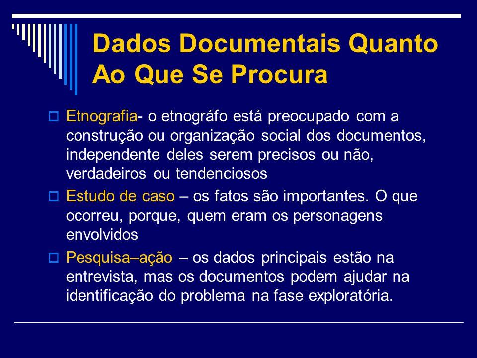 Dados Documentais Quanto Ao Que Se Procura