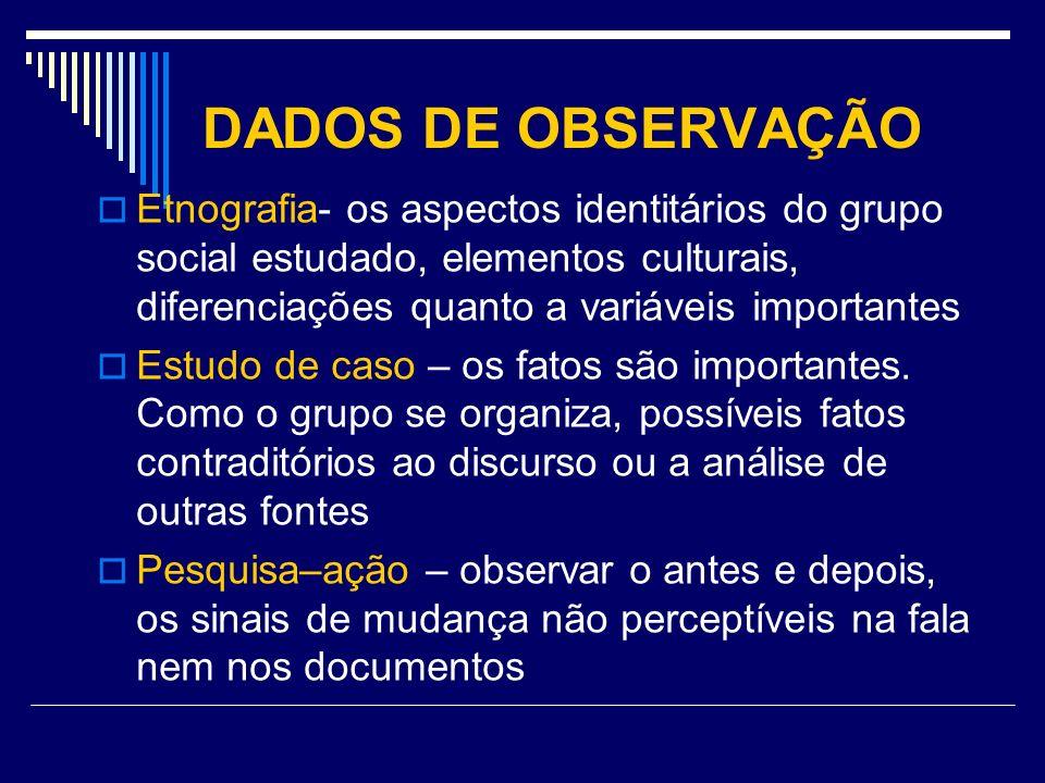 DADOS DE OBSERVAÇÃO Etnografia- os aspectos identitários do grupo social estudado, elementos culturais, diferenciações quanto a variáveis importantes.