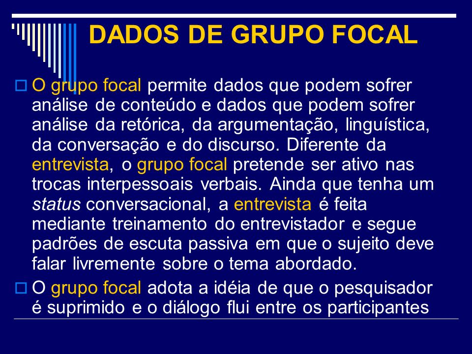 DADOS DE GRUPO FOCAL