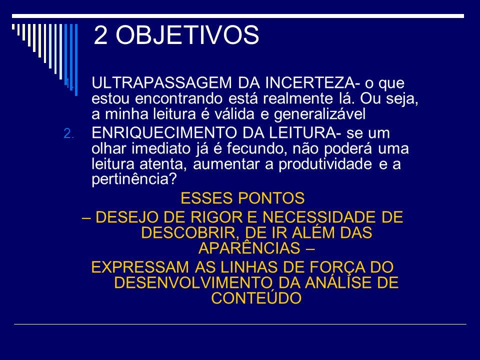 EXPRESSAM AS LINHAS DE FORÇA DO DESENVOLVIMENTO DA ANÁLISE DE CONTEÚDO