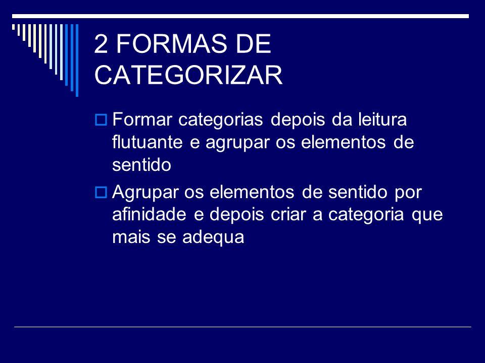 2 FORMAS DE CATEGORIZARFormar categorias depois da leitura flutuante e agrupar os elementos de sentido.