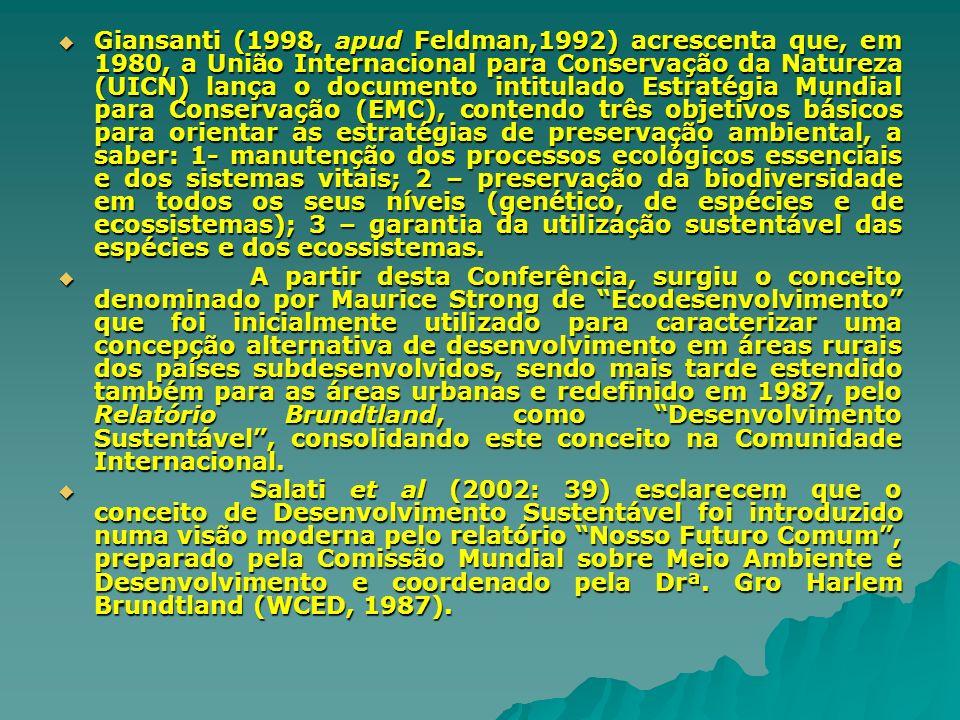 Giansanti (1998, apud Feldman,1992) acrescenta que, em 1980, a União Internacional para Conservação da Natureza (UICN) lança o documento intitulado Estratégia Mundial para Conservação (EMC), contendo três objetivos básicos para orientar as estratégias de preservação ambiental, a saber: 1- manutenção dos processos ecológicos essenciais e dos sistemas vitais; 2 – preservação da biodiversidade em todos os seus níveis (genético, de espécies e de ecossistemas); 3 – garantia da utilização sustentável das espécies e dos ecossistemas.