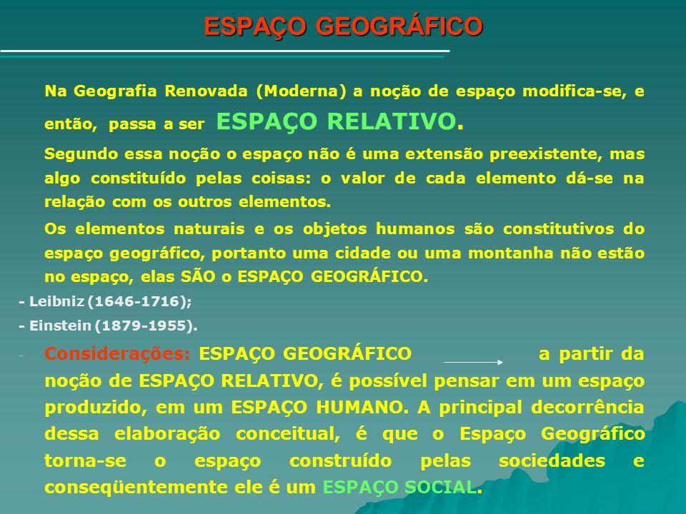 ESPAÇO GEOGRÁFICO Na Geografia Renovada (Moderna) a noção de espaço modifica-se, e então, passa a ser ESPAÇO RELATIVO.