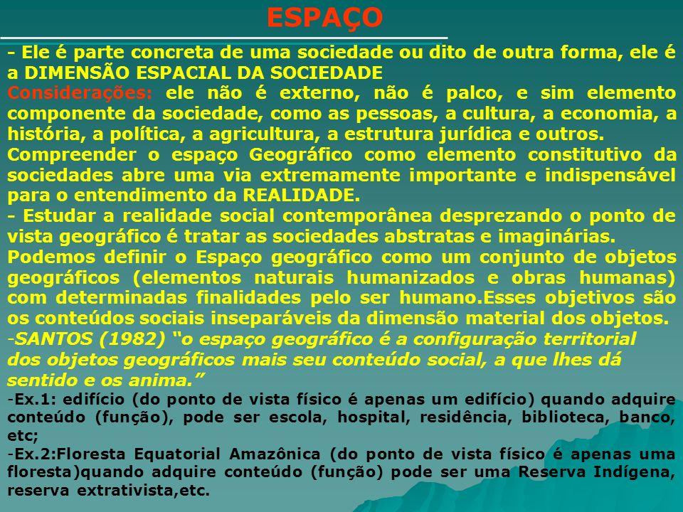 ESPAÇO - Ele é parte concreta de uma sociedade ou dito de outra forma, ele é a DIMENSÃO ESPACIAL DA SOCIEDADE.