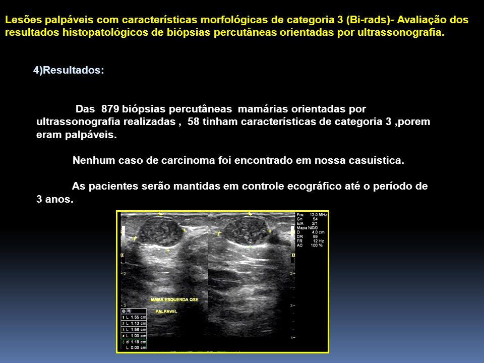 Lesões palpáveis com características morfológicas de categoria 3 (Bi-rads)- Avaliação dos resultados histopatológicos de biópsias percutâneas orientadas por ultrassonografia.