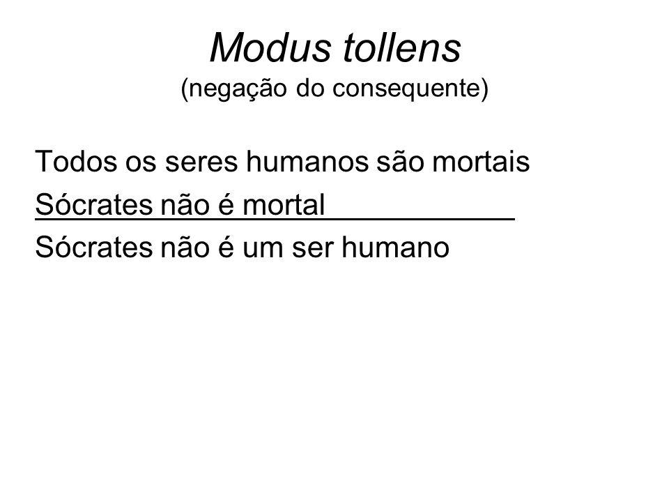 Modus tollens (negação do consequente)