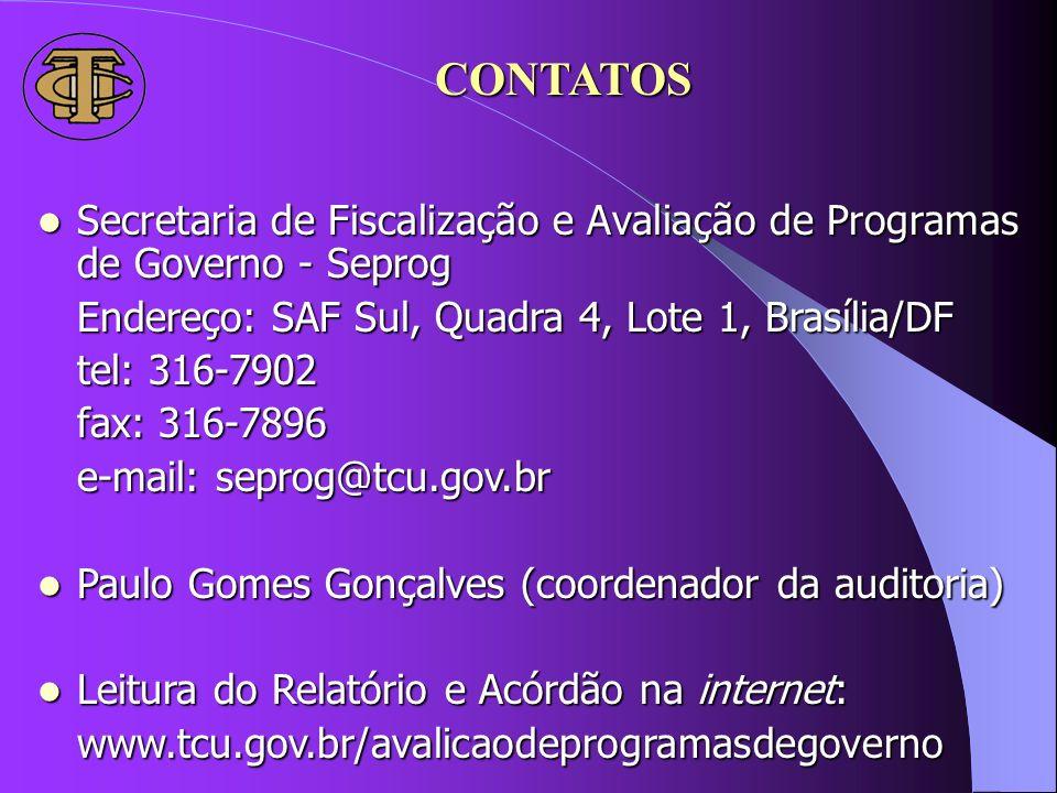 CONTATOS Secretaria de Fiscalização e Avaliação de Programas de Governo - Seprog. Endereço: SAF Sul, Quadra 4, Lote 1, Brasília/DF.