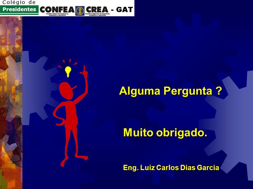Alguma Pergunta Muito obrigado. Eng. Luiz Carlos Dias Garcia