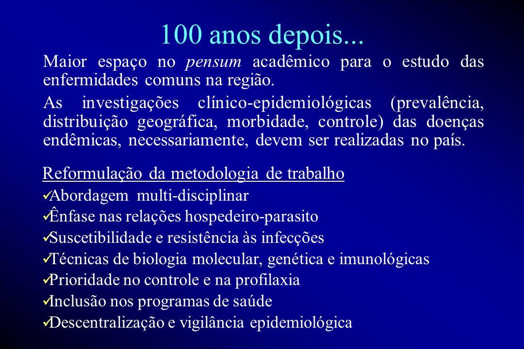 100 anos depois... Maior espaço no pensum acadêmico para o estudo das enfermidades comuns na região.